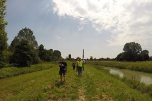 Gianpaolo Quaresimin è il primo del gruppo che sta seguendo la visita al Marzenego il 2 giugno 2014, giorno della prima intervista.