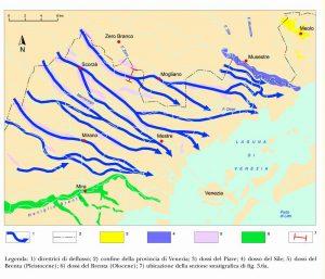 Le principali direttrici di deflusso tardo-pleistoceniche del Brenta, nell'area compresa tra Sile e Naviglio Brenta; 1) direttrici di deflusso; 2) confine delta provincia di Venezia; 3) dossi del Piave; 4) dosso del Sile; 5) dossi del Brenta (Pleistocene); 6) dossi del Brenta (Olocene); 7) ubicazione delta sezione stratigrafica di Fig. 8. da A. Bondesan et alii (2004).