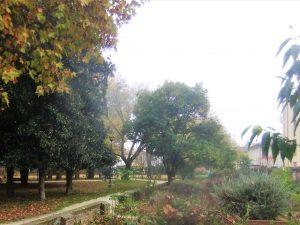 Il parco di villa Querini visto dalla passeggiata lungo il Marzenego ramo delle Muneghe o della Campana.